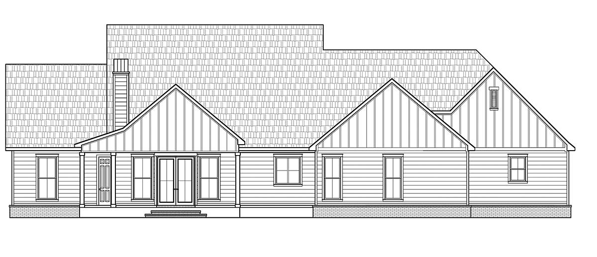 Country , Modern Farmhouse House Plan 41406 with 5 Beds, 4 Baths, 3 Car Garage Rear Elevation