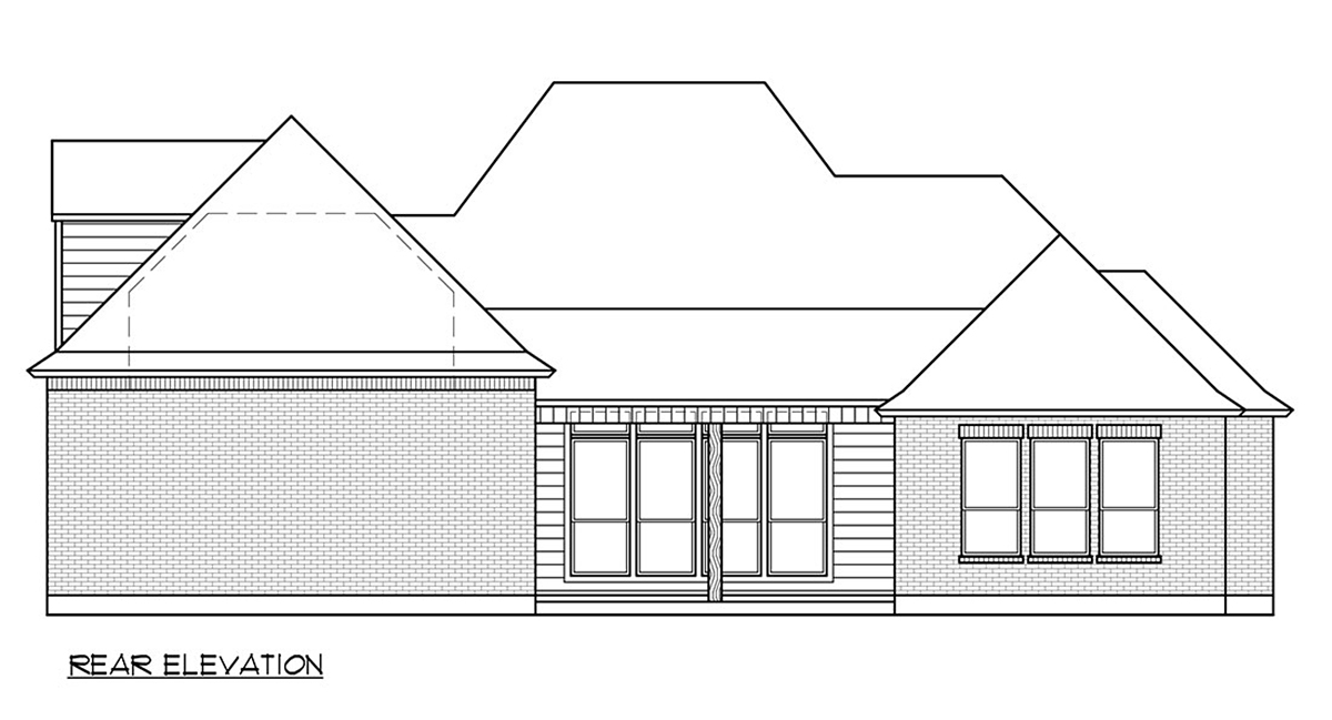 Colonial, Country, Traditional House Plan 41410 with 4 Beds, 3 Baths, 3 Car Garage Rear Elevation