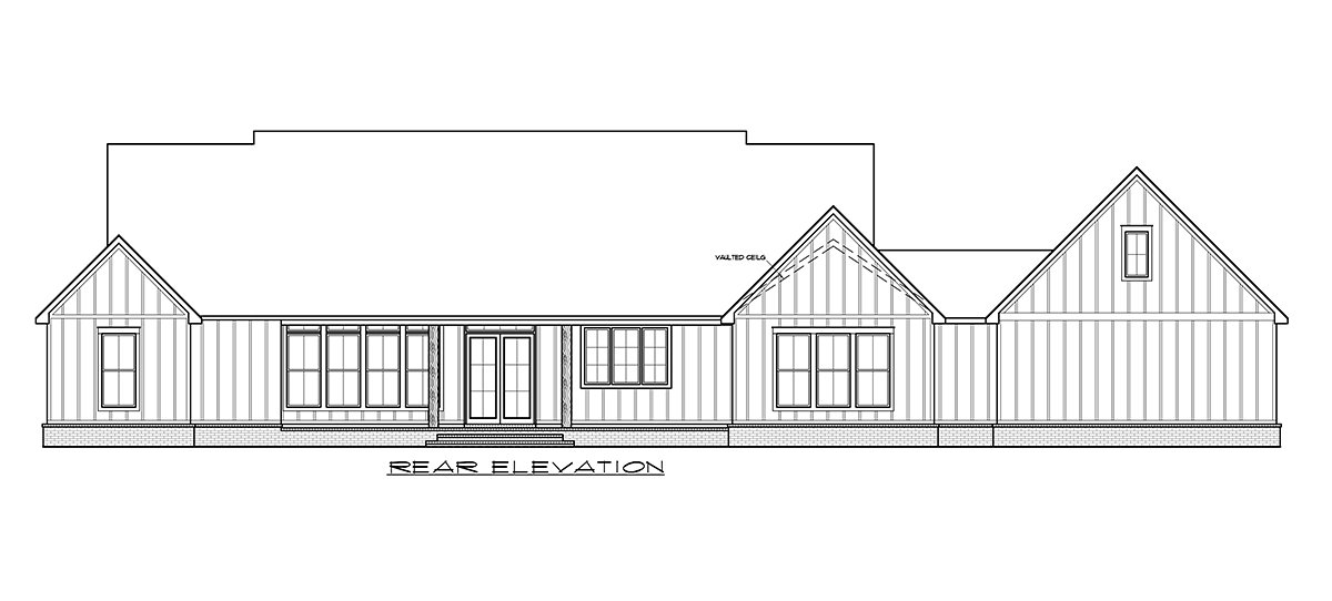 Country, Farmhouse, Traditional House Plan 41412 with 4 Beds, 3 Baths, 2 Car Garage Rear Elevation