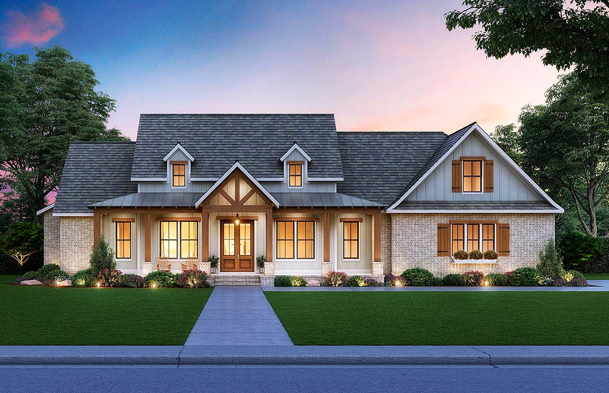 Cottage, Country, Craftsman House Plan 41413 with 3 Beds, 3 Baths, 2 Car Garage Elevation