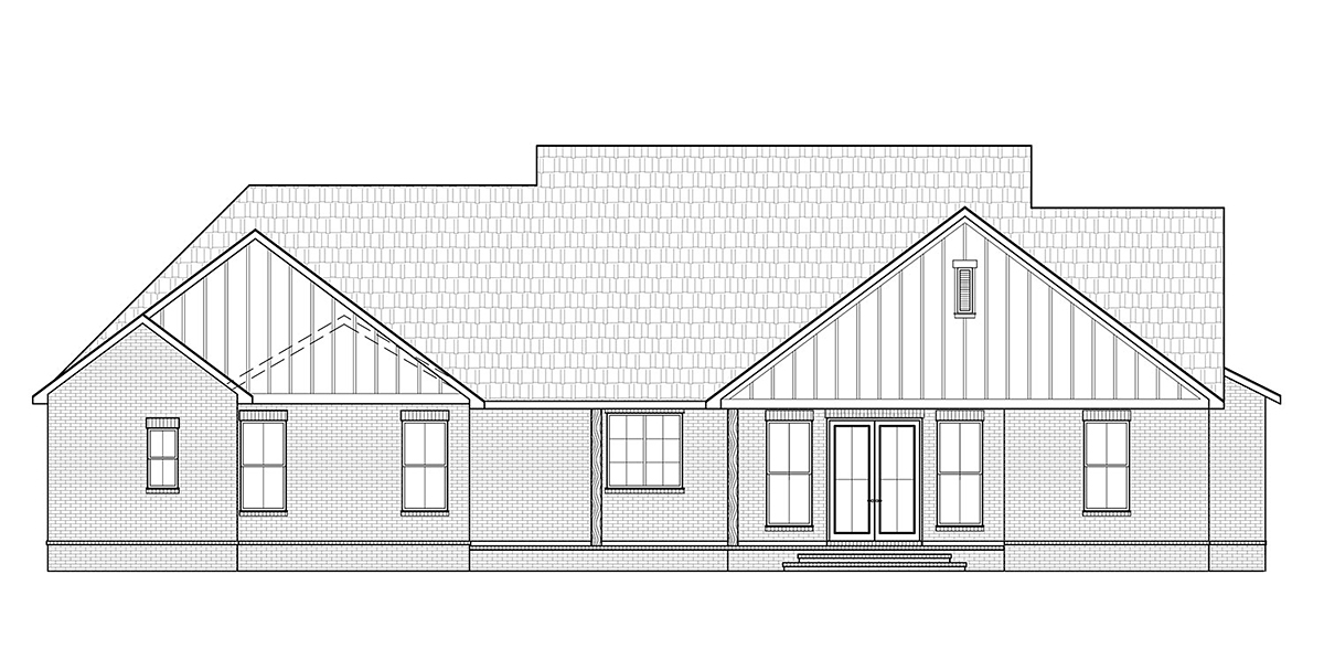 Cottage, Country, Craftsman House Plan 41413 with 3 Beds, 3 Baths, 2 Car Garage Rear Elevation