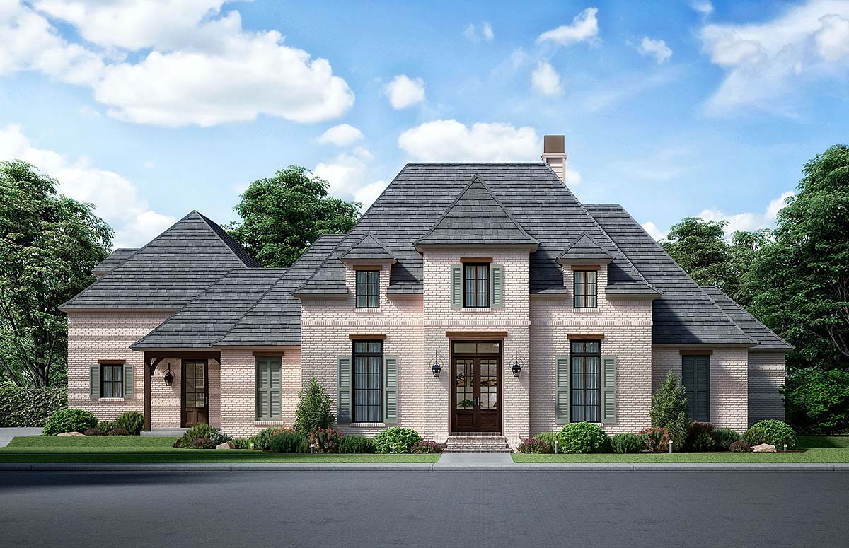 European, French Country House Plan 41414 with 4 Beds, 4 Baths, 3 Car Garage Front Elevation