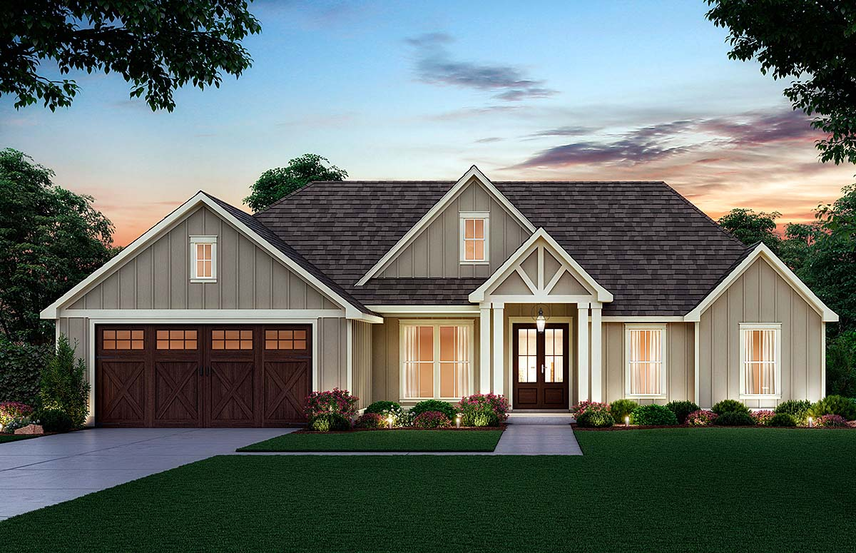Craftsman, Farmhouse House Plan 41416 with 4 Beds, 2 Baths, 2 Car Garage Front Elevation