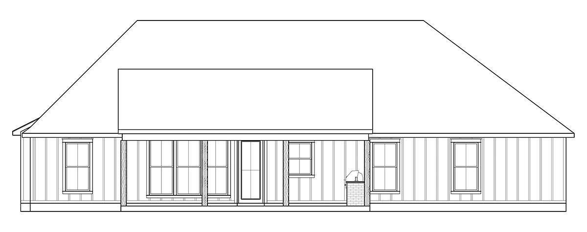 Craftsman, Farmhouse House Plan 41416 with 4 Beds, 2 Baths, 2 Car Garage Rear Elevation
