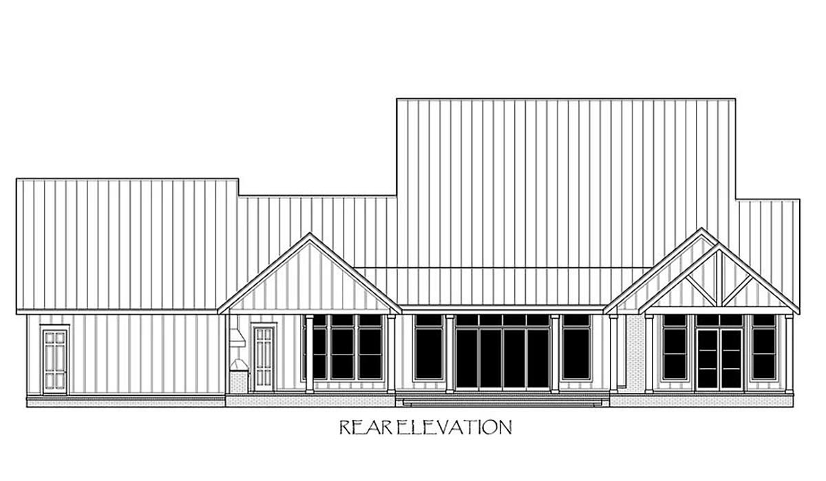 Country, Farmhouse House Plan 41420 with 4 Beds, 6 Baths, 3 Car Garage Rear Elevation