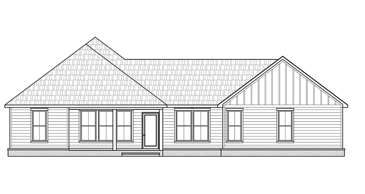 Country, Farmhouse House Plan 41421 with 3 Beds, 2 Baths, 2 Car Garage Rear Elevation