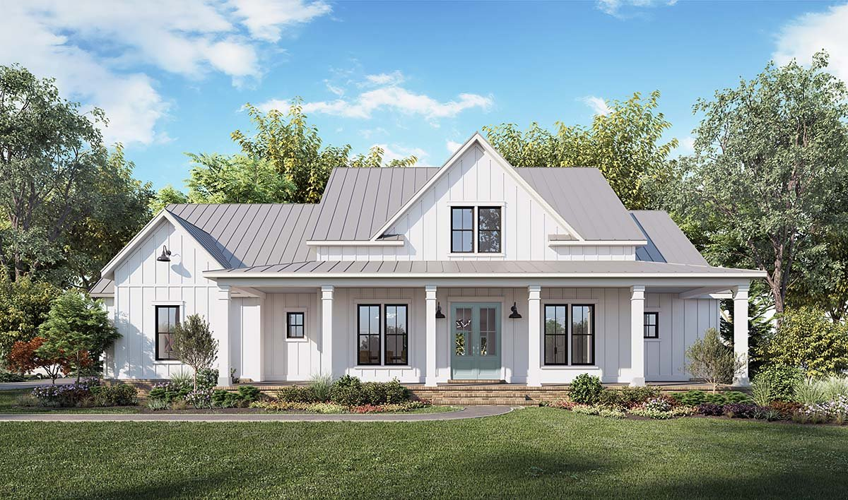 Country, Farmhouse House Plan 41423 with 4 Beds, 3 Baths, 2 Car Garage Picture 1