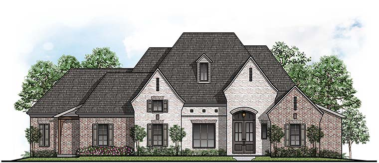 European, Southern House Plan 41501 with 4 Beds, 4 Baths, 3 Car Garage Elevation