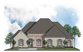 House Plan 41515 | Colonial European Style Plan with 2374 Sq Ft, 4 Bedrooms, 3 Bathrooms, 2 Car Garage Elevation