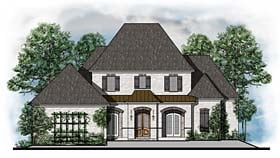 House Plan 41553 | Colonial European French Country Southern Style Plan with 3938 Sq Ft, 4 Bedrooms, 4 Bathrooms, 3 Car Garage Elevation
