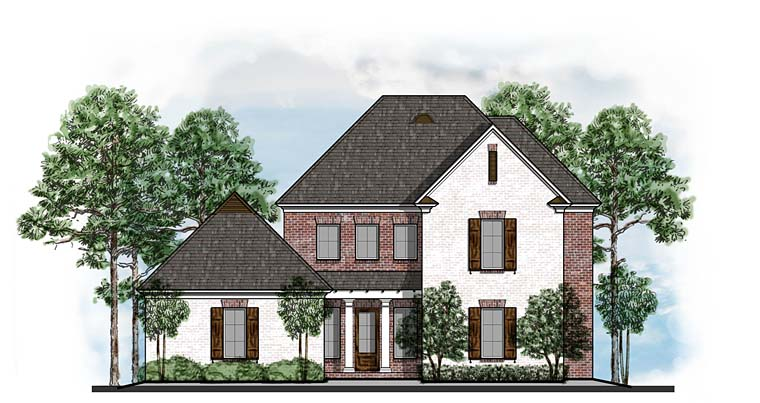 Colonial, Country, European, Southern House Plan 41562 with 4 Beds, 4 Baths, 3 Car Garage Elevation