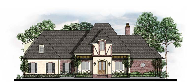 Country, European, French Country, Southern, Tudor House Plan 41564 with 5 Beds, 5 Baths, 3 Car Garage Elevation