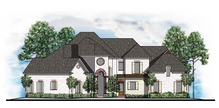 European, Southern House Plan 41565 with 4 Beds, 4 Baths, 3 Car Garage Elevation