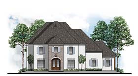 House Plan 41585 | Colonial Southern Style Plan with 3759 Sq Ft, 4 Bedrooms, 4 Bathrooms, 3 Car Garage Elevation