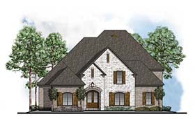 House Plan 41589 | European Southern Style Plan with 3739 Sq Ft, 4 Bedrooms, 5 Bathrooms, 3 Car Garage Elevation