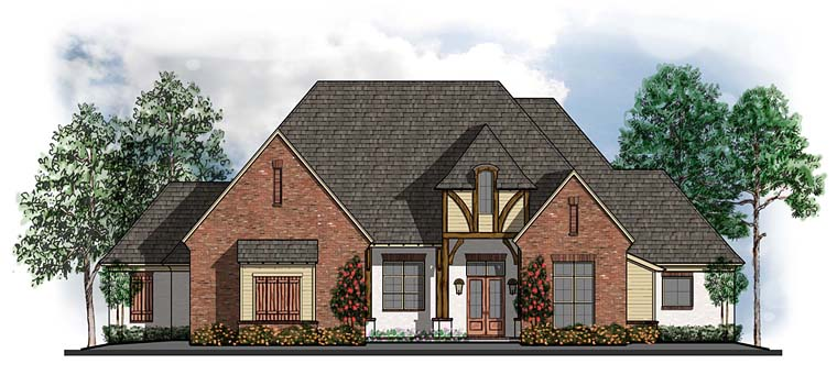 European Southern Traditional Tudor House Plan 41630 Elevation