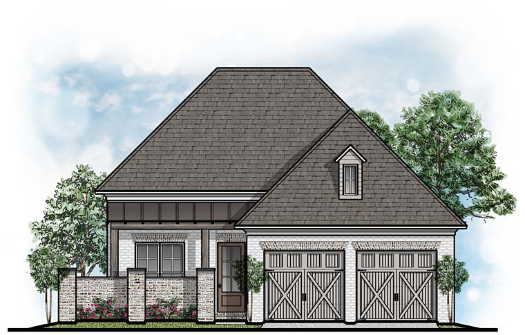 European, Southern House Plan 41638 with 3 Beds, 4 Baths, 2 Car Garage Elevation