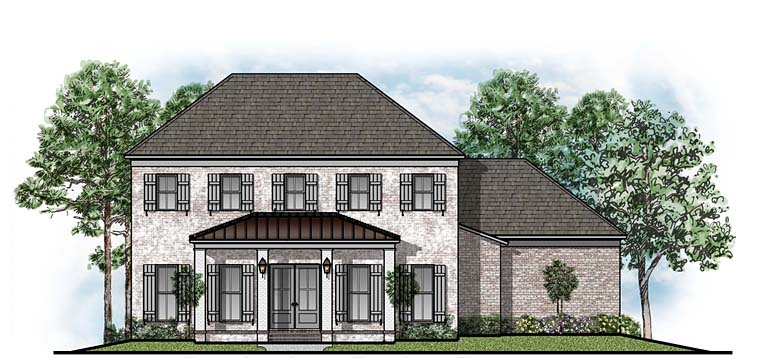 House Plan 41655 | Colonial Southern Traditional Style Plan with 3772 Sq Ft, 5 Bedrooms, 4 Bathrooms, 3 Car Garage Elevation