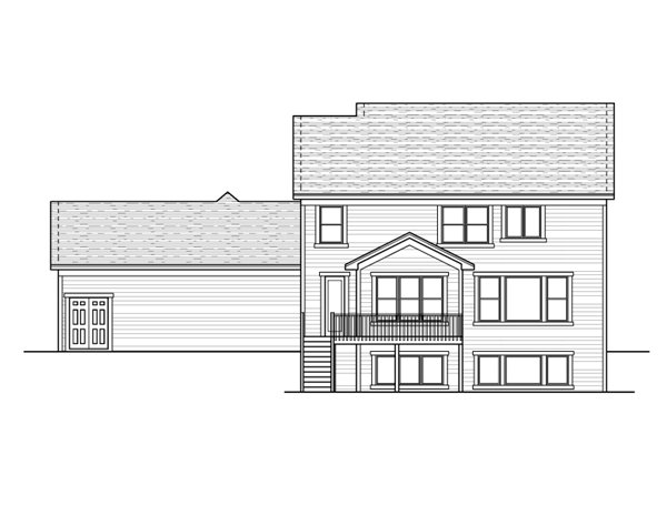 European Traditional House Plan 42000 Rear Elevation