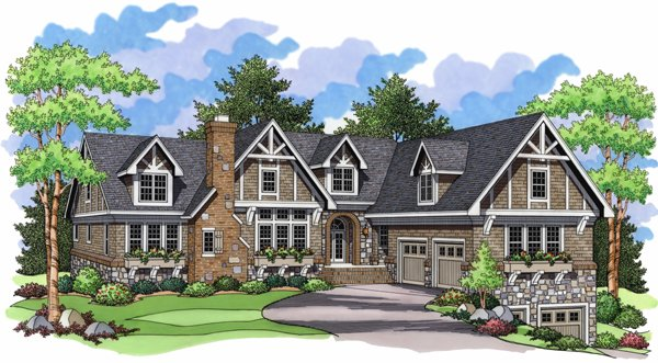 European, One-Story, Ranch, Traditional House Plan 42002 with 4 Beds, 6 Baths, 4 Car Garage Elevation