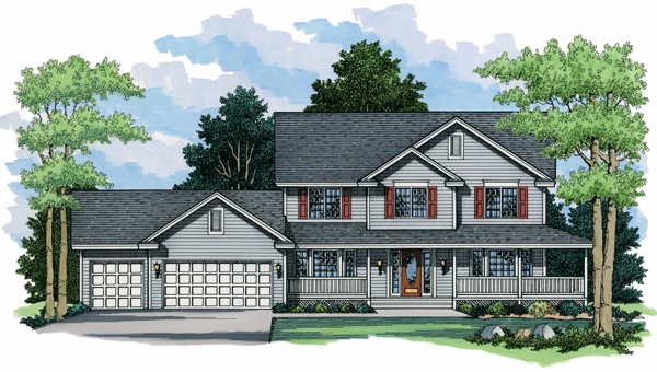 Colonial , European , Traditional House Plan 42003 with 4 Beds, 3 Baths, 3 Car Garage Elevation