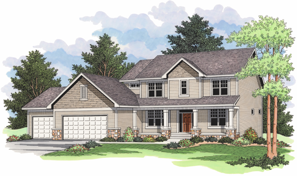 European, Traditional House Plan 42004 with 3 Beds, 3 Baths, 3 Car Garage Elevation