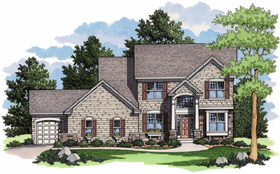 House Plan 42005 | Colonial European Traditional Style Plan with 2544 Sq Ft, 4 Bedrooms, 3 Bathrooms, 3 Car Garage Elevation