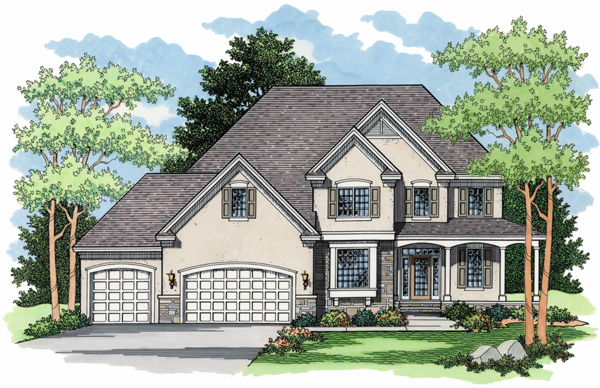Colonial European Traditional Elevation of Plan 42006