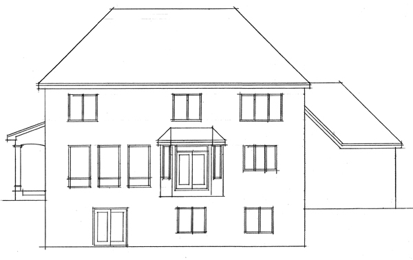Colonial European Traditional Rear Elevation of Plan 42006
