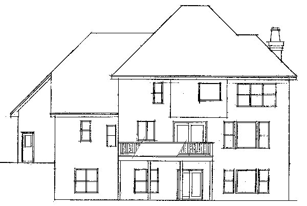 European Traditional House Plan 42007 Rear Elevation