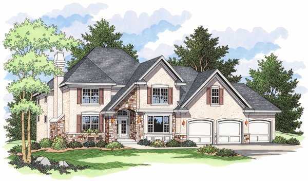 European , Traditional House Plan 42009 with 3 Beds, 3 Baths, 3 Car Garage Elevation