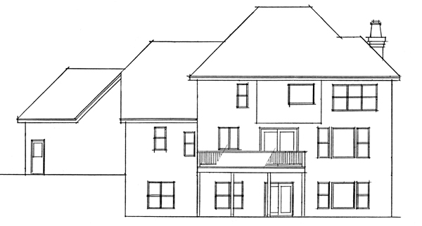 European Traditional House Plan 42009 Rear Elevation