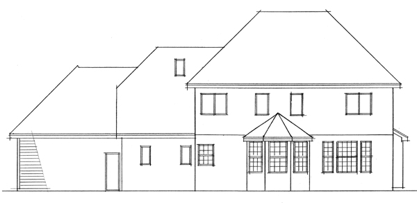 Colonial European Traditional House Plan 42011 Rear Elevation