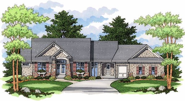 Traditional , Ranch , European House Plan 42012 with 4 Beds, 3 Baths, 3 Car Garage Elevation
