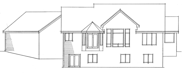 Traditional , Ranch , European House Plan 42012 with 4 Beds, 3 Baths, 3 Car Garage Rear Elevation