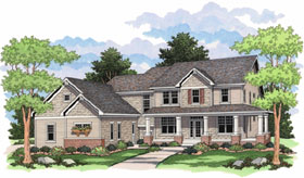 House Plan 42014 | European Farmhouse Traditional Style Plan with 2734 Sq Ft, 4 Bedrooms, 3 Bathrooms, 3 Car Garage Elevation