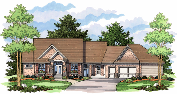 European Ranch Traditional House Plan 42015 Elevation