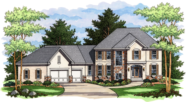 Colonial, European, Traditional House Plan 42016 with 4 Beds, 3 Baths, 3 Car Garage Elevation