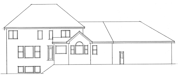 Colonial, European, Traditional House Plan 42016 with 4 Beds, 3 Baths, 3 Car Garage Rear Elevation