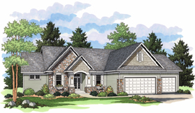 European , Ranch , Traditional House Plan 42020 with 5 Beds, 3 Baths, 3 Car Garage Elevation