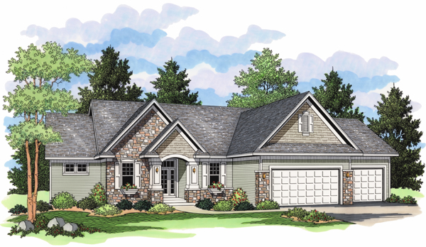 European Ranch Traditional House Plan 42020 Elevation