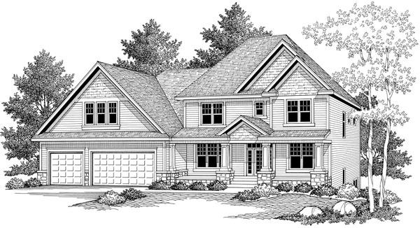 Colonial, European, Traditional House Plan 42022 with 3 Beds, 3 Baths, 3 Car Garage Elevation