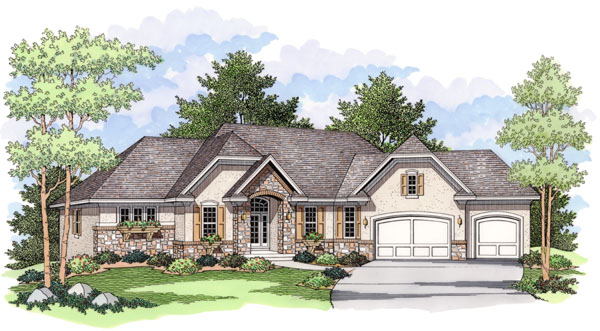 European Ranch Traditional House Plan 42023 Elevation