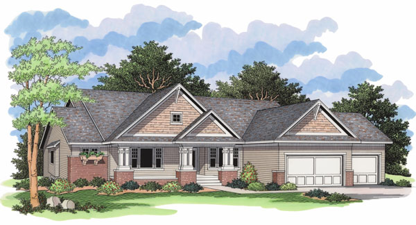 European Ranch Traditional House Plan 42024 Elevation