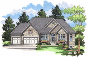European Ranch Traditional House Plan 42025 Elevation