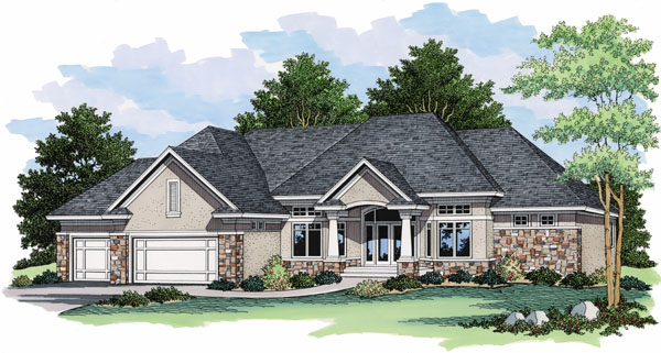 European Ranch Traditional House Plan 42027 Elevation