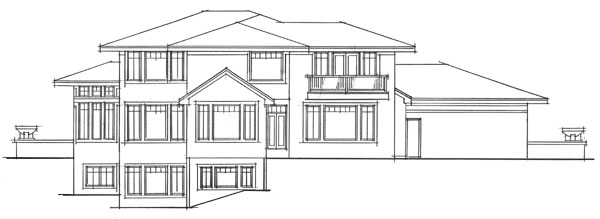 European Traditional House Plan 42029 Rear Elevation