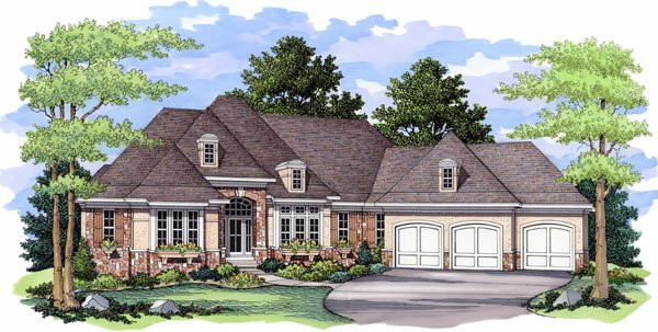 European, Traditional House Plan 42030 with 4 Beds , 4 Baths , 3 Car Garage Elevation