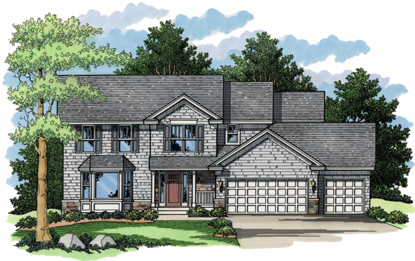 Colonial, European, Traditional House Plan 42032 with 4 Beds, 3 Baths, 3 Car Garage Elevation
