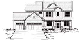 Traditional , European , Colonial House Plan 42036 with 4 Beds, 3 Baths, 3 Car Garage Elevation